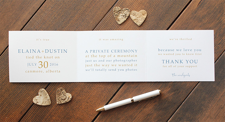 Elopement Announcement Card Canmore Banff Lake Louise Calgary