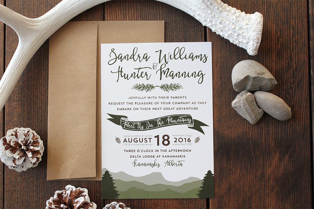 Boho Mountain Wedding Invitation Template Wedding Invitations