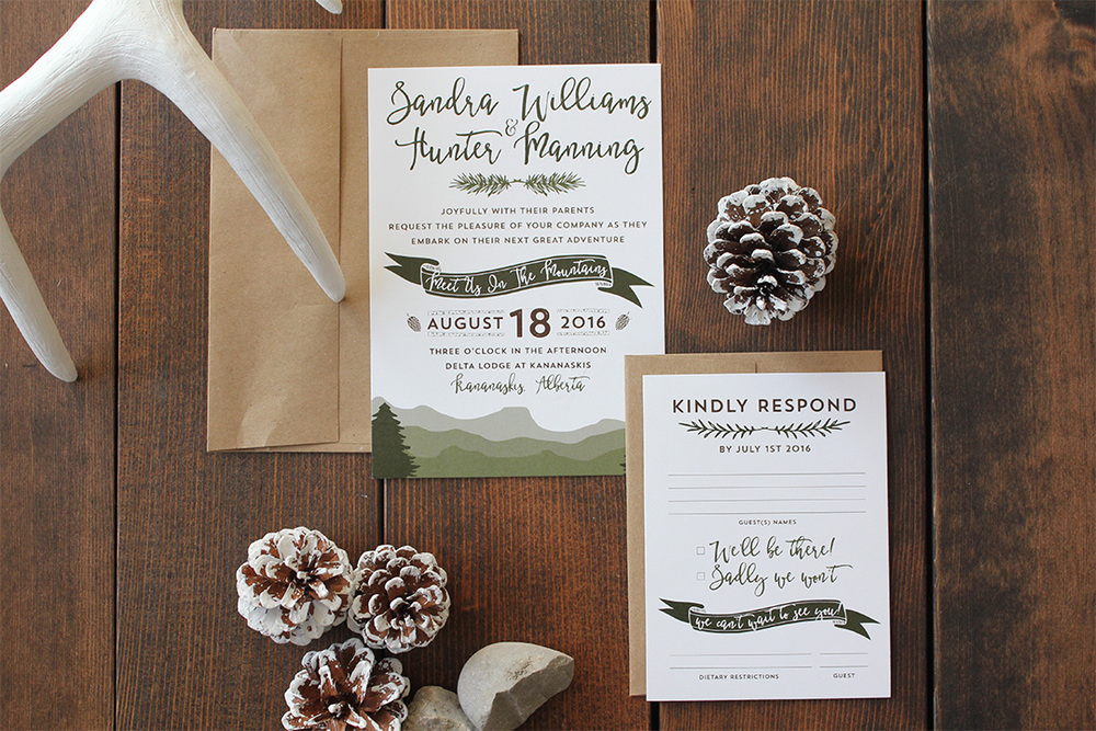 Calgary Wedding Invitation Boho Mountain Invite