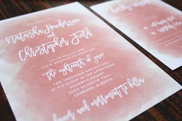 Wedding Invites Calgary Modern Elegance Soft Peach Watercolour