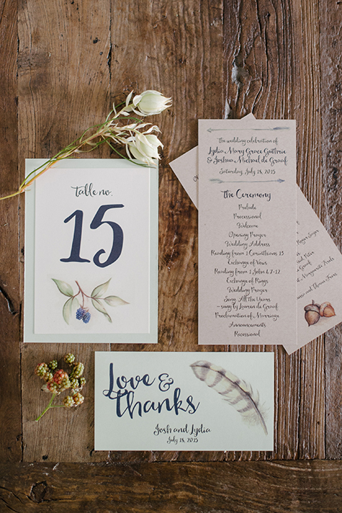 Table Number, Program, Thank You Note, Wedding Stationery Invites Calgary Banff Canmore