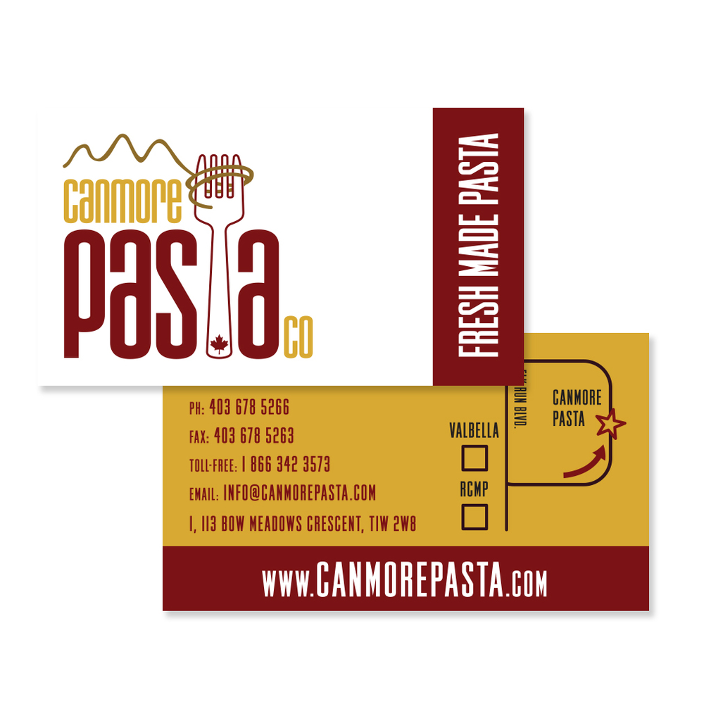 Canmore Pasta Company Branding Logo Business Card Graphic Design