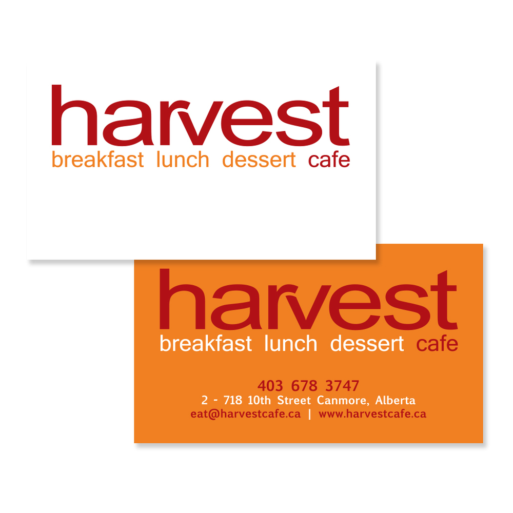 Harvest Cafe Canmore Logo Branding Business Card Graphic Design