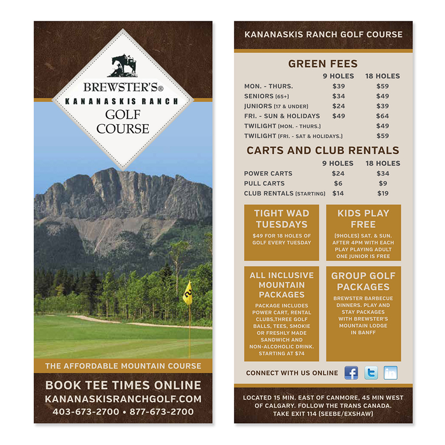 Kananaskis Golf Course rebranding graphic designer brochure flyers