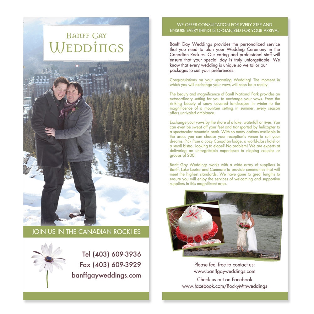 Banff Gay Weddings Brand Graphic Designer Flyer Brochure
