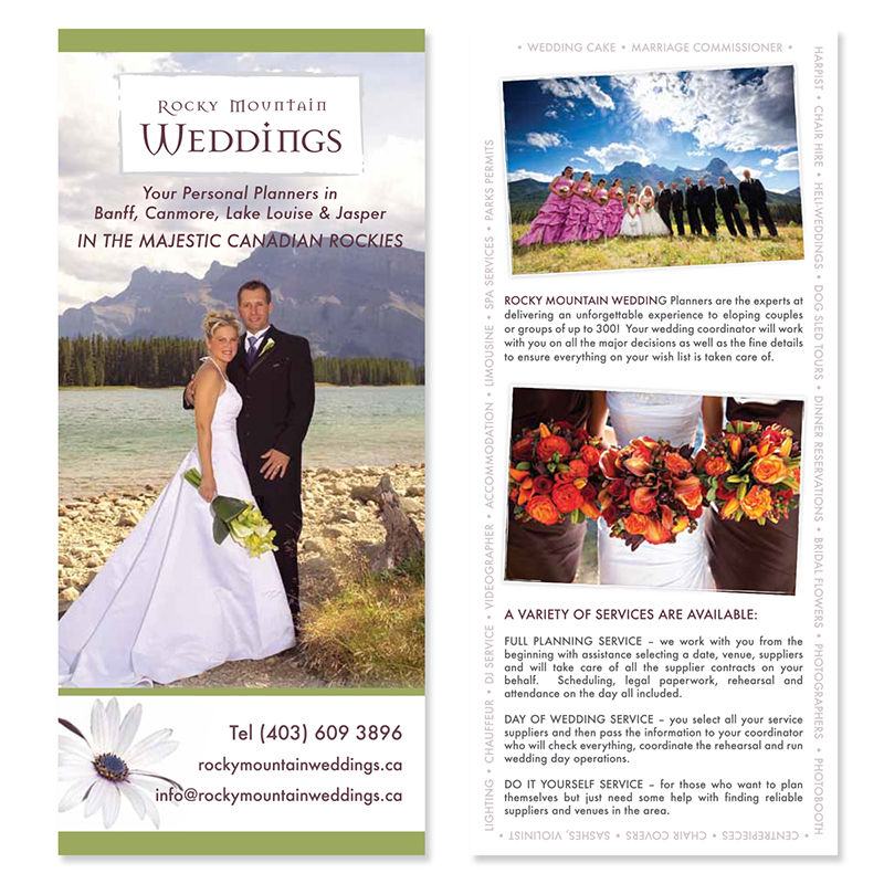 Rocky Mountain Wedding Branding Graphic Designer Banff Brochure Logo