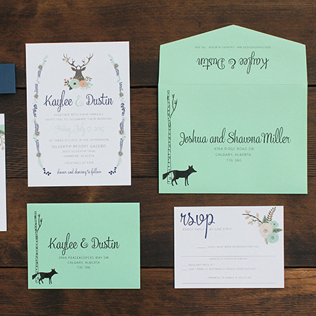 Woodland Wedding Invite Mountain