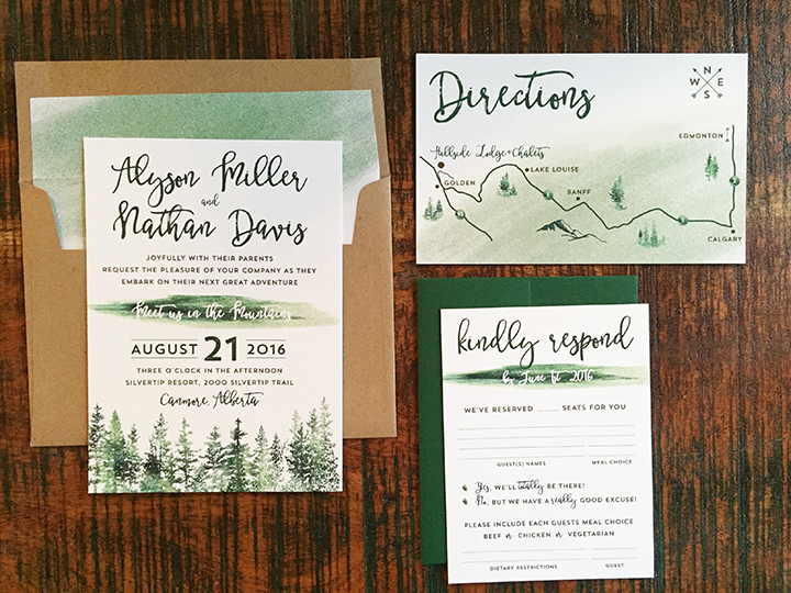 Watercolour Tree Mountain Wedding Invitation Canmore Banff Golden Calgary