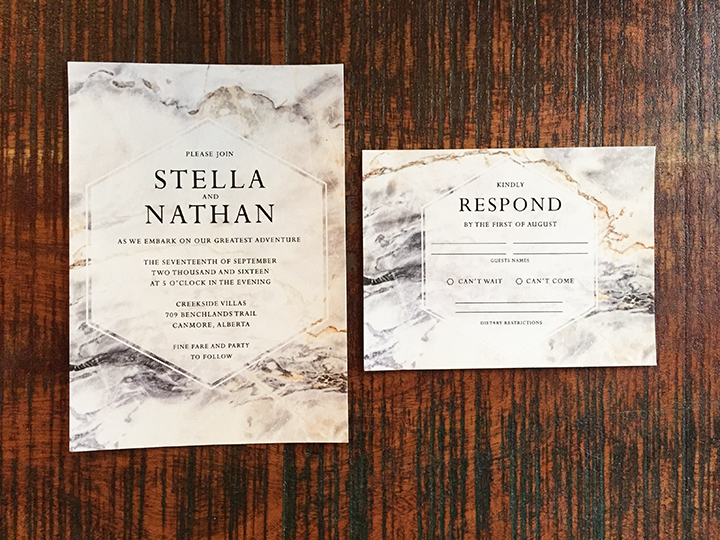 Marble Modern Chic Wedding Invitation Calgary Alberta