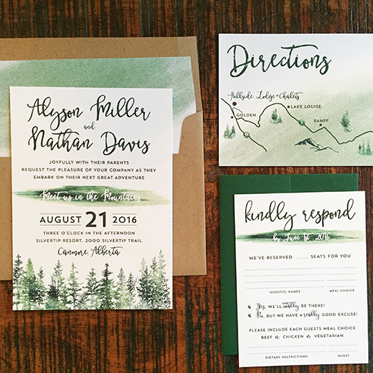Rustic Watercolor Tree Wedding Invitation Invite