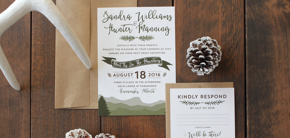 Calgary wedding invitations calgary pink umbrella designs boho mountain rustic wedding invite calgary stopboris Gallery