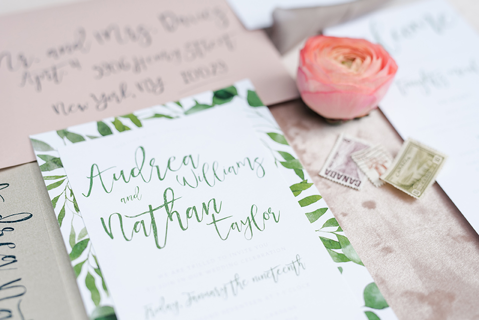 Greenery Wedding Invite Calgary Canmore