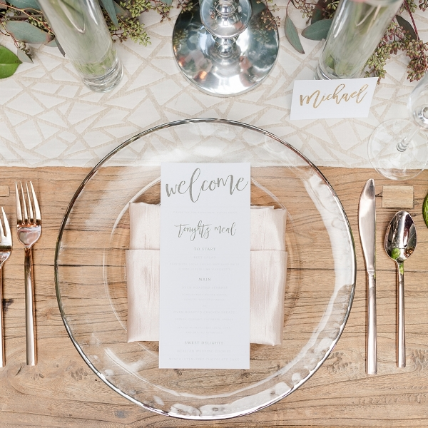 Elegant Greenery Wedding Menu