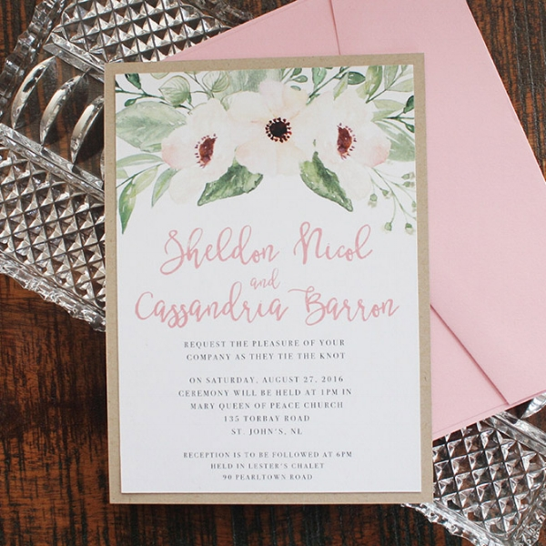 Floral Pink Watercolour Pencil Wedding Invitation Calgary