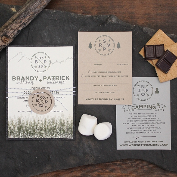 Mountain Tree Camping Smores wedding invitation suite. Calgary, Canmore Banff Alberta. Rocky Mountain.