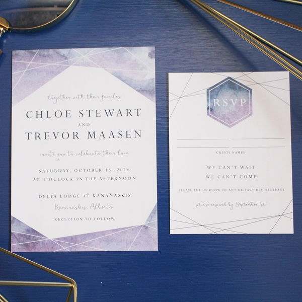 Geometric Watercolor Modern Wedding Invitation Invite Calgary Canmore Banff