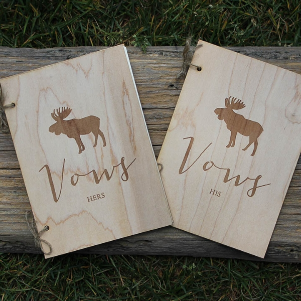 Pink Umbrella Designs - Wood Moose Wedding Vow Book