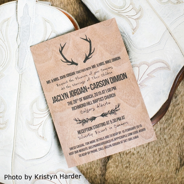 Pink Umbrella Designs - Rustic Wood Antler Wedding Invitation. Photo by Kristyn Harder Photography