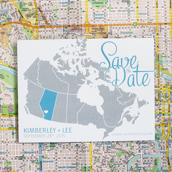 Map of Canada Save the Date Wedding Invitation Calgary