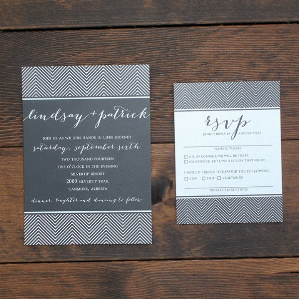 Art Deco Chevron Modern Wedding Invitation Calgary