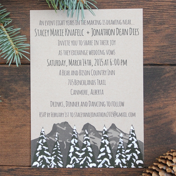Mountain Tree Snow Wedding Invitation Calgary