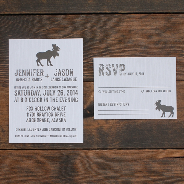 Rustic Moose Mountain Wedding Invitation Calgary
