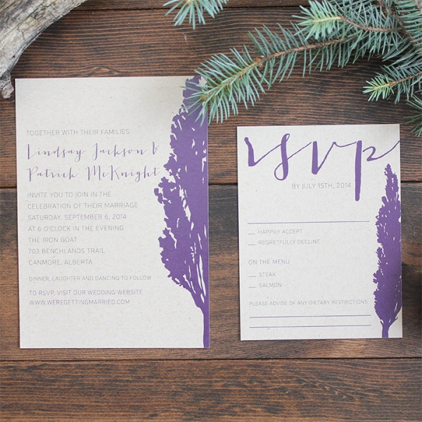 Rustic Tree Mountain Wedding Invitation Calgary