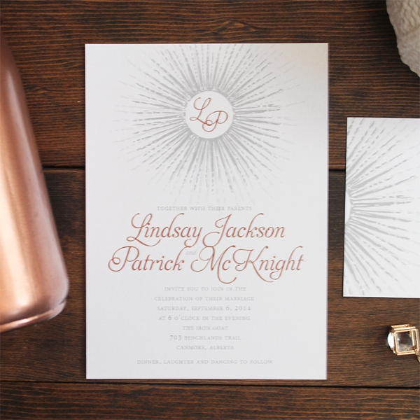 Art Deco Beam Wedding Invitation. Calgary, Canmore Banff Alberta.