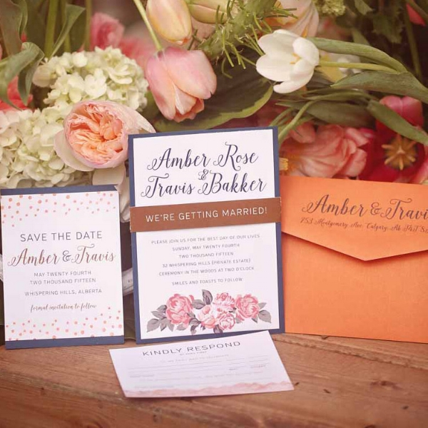 Calgary Wedding Invitations - Modern Floral Copper Invites