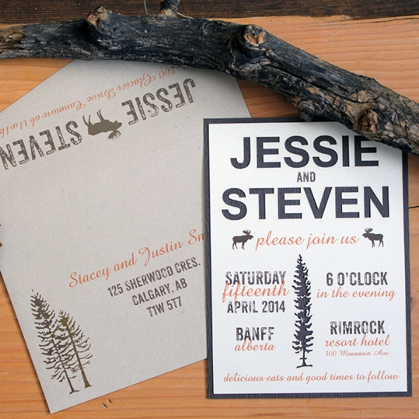 Calgary Wedding Invites - Woodland Rustic Invitations