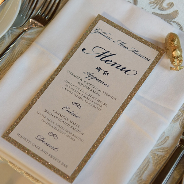 Banff Spring Hotel Wedding Menu Stationery