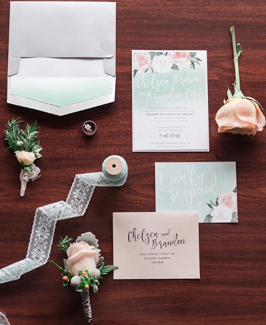 Mint Peach Wedding Invite Calgary