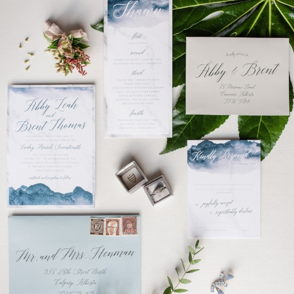 Calgary Wedding Invite Watercolour Elegant Modern