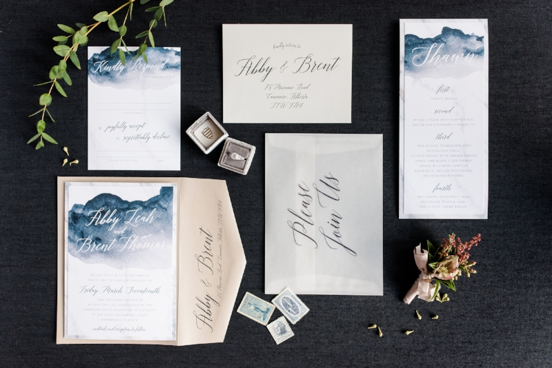 Modern Deep Watercolor Wedding Invite