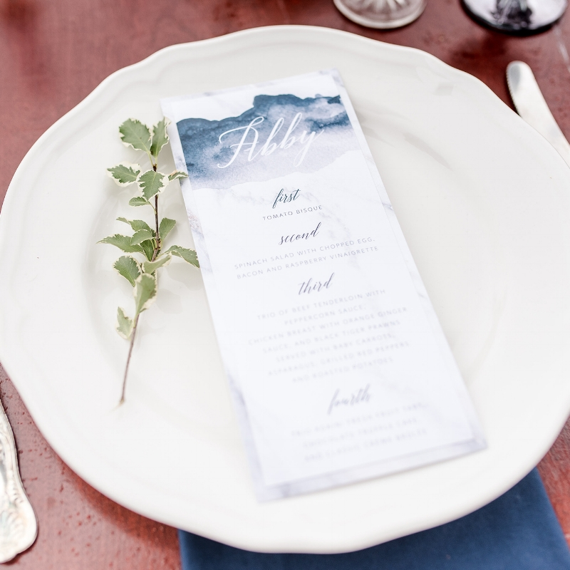 Abby Suite : Watercolour Modern Menu