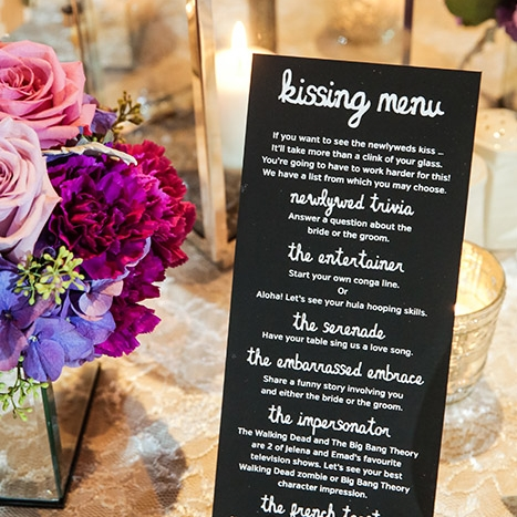 Kissing Menu Wedding Reception Calgary Banff