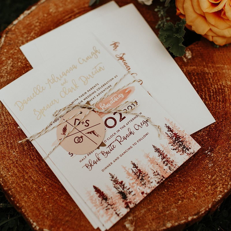 Blush Merlet Rustic Wedding Invite