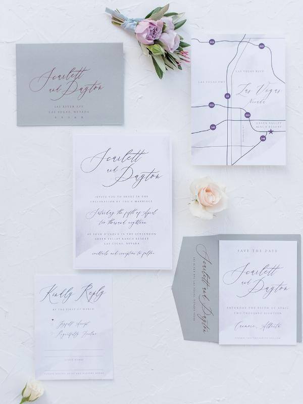 Romanic Calligraphy Industrial wedding invitation Calgary