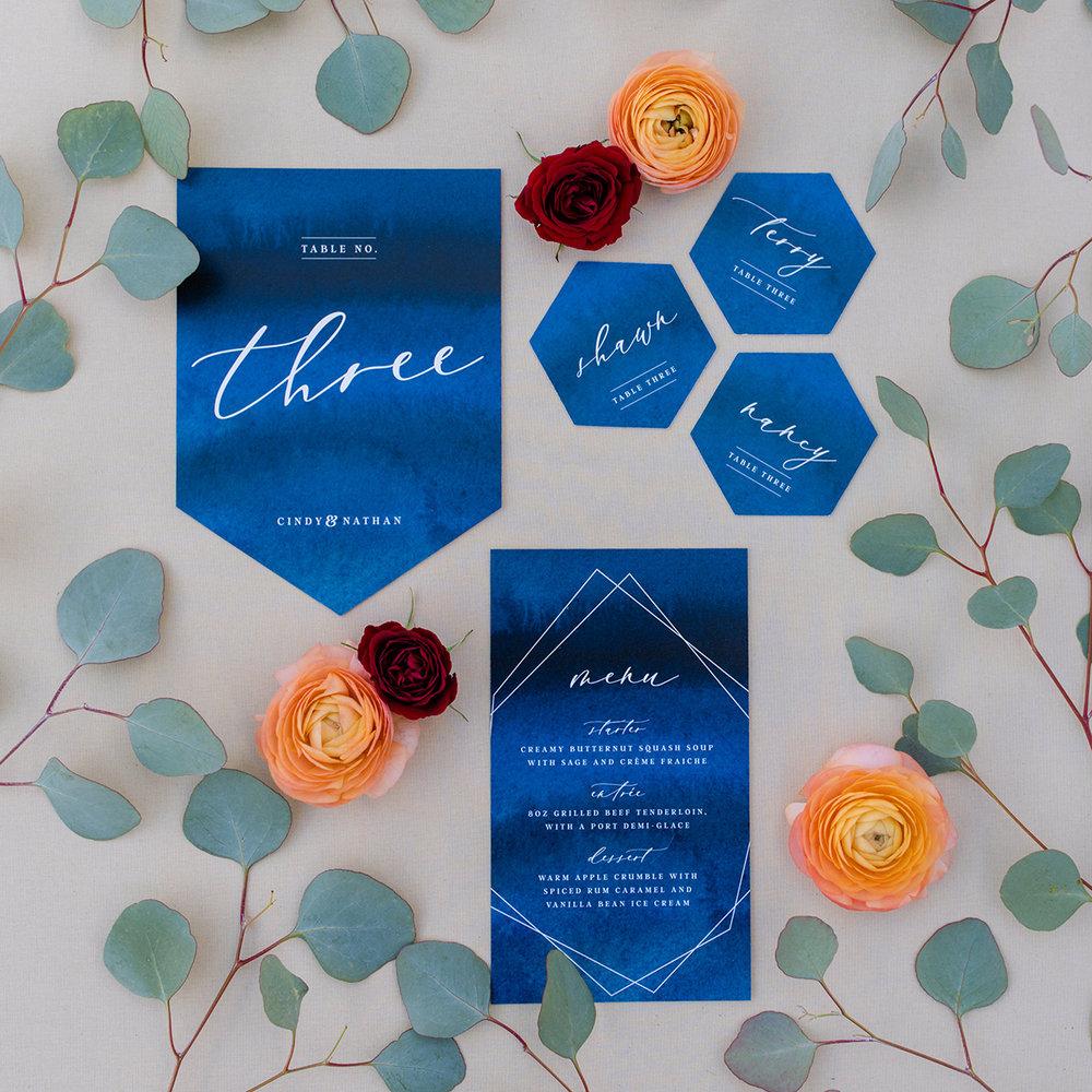 Wedding Invitations Calgary Canmore Banff Menu Blue