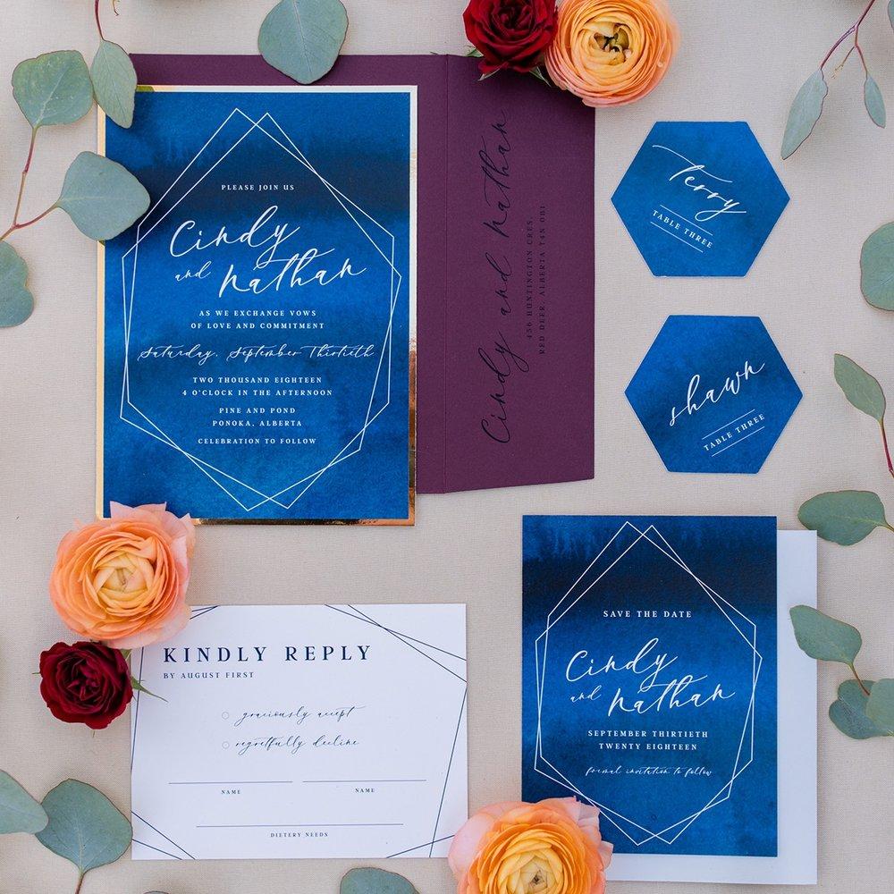 Geometric watercolor blue wedding invite Calgary