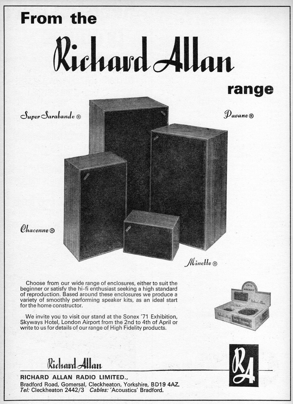 Richard Allan Minette, Chaconne, Davane, Super Sarabande Advert 1971.jpg