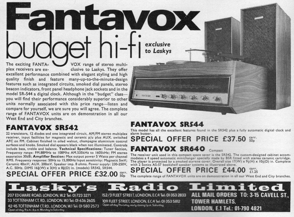 Fantavox SR542, SR544, SR640 Advert 1971.jpg