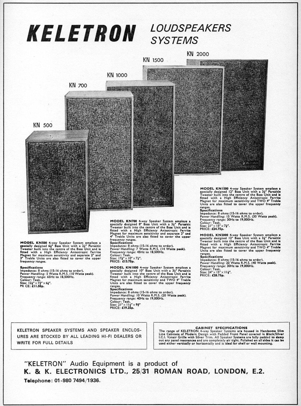 Keletron KN500, KN700, KN1000, KN1500, KN2000 Advert (1971).jpg