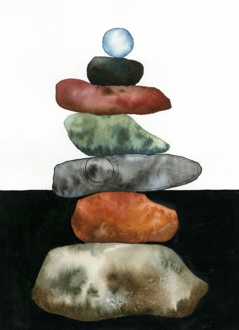Cairn Rock Stack // Watercolor