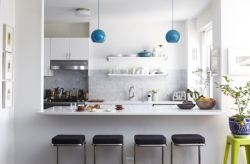 So Playful And The Grey White Marble Tile Backsplash Is Super Chic Has A Fun Color Block Effect Cut Out Window Into Kitchen