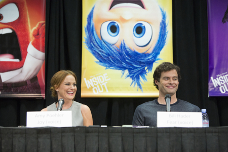 "Amy Poehler, Voice of ""Joy,"" and Bill Hader, Voice of ""Fear."""