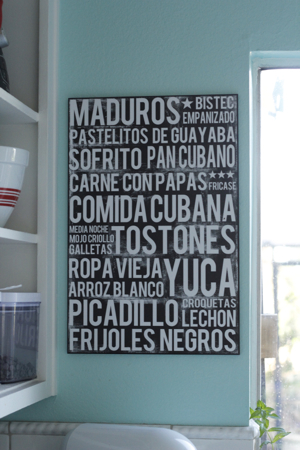 A poster with all your favorite Cuban foods!