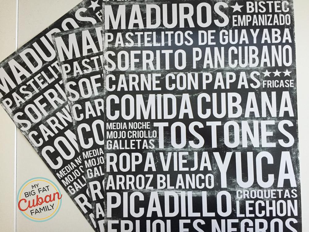 Cuban Food Posters 11x14