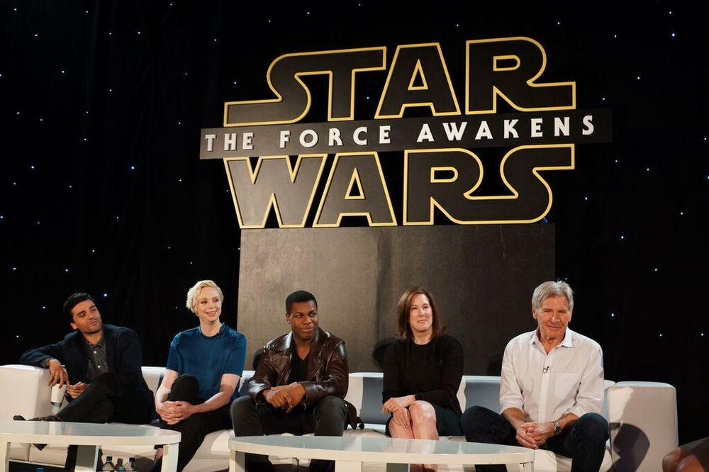 Oscar Isaac, Gwendoline Christie, John Boyega, Kathleen Kennedy, Harrison Ford