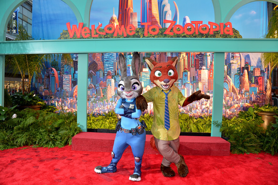 Officer Judy Hopps and Nick Wilde at the Zootopia Premiere in Hollywood. Photo courtesy of Disney.